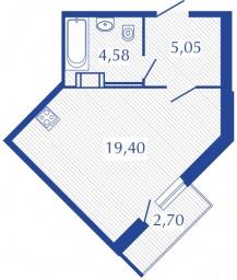 Планировка Студия площадью 29.19 кв.м в ЖК «Прогресс»