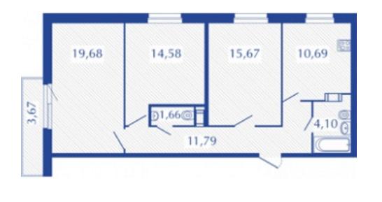 Планировка Трёхкомнатная квартира площадью 79.27 кв.м в ЖК «Прогресс»