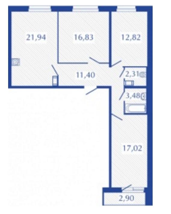 Планировка Трёхкомнатная квартира площадью 87.25 кв.м в ЖК «Прогресс»