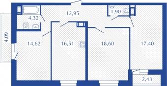 Планировка Трёхкомнатная квартира площадью 88.74 кв.м в ЖК «Прогресс»