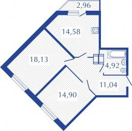 Планировка Двухкомнатная квартира площадью 64.46 кв.м в ЖК «Прогресс»
